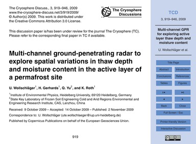 Multi-channel Ground-penetrating Radar t... by Wollschläger, U.