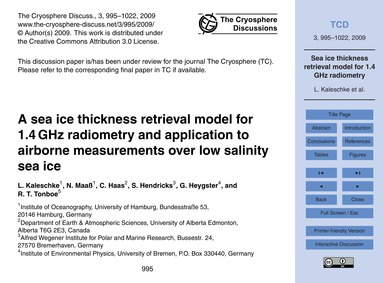 A Sea Ice Thickness Retrieval Model for ... by Kaleschke, L.