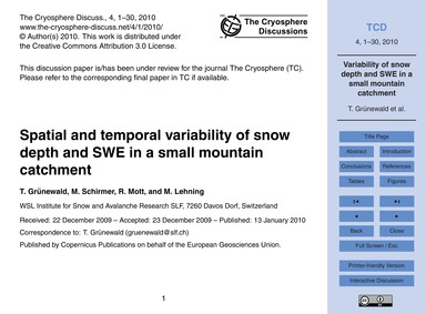 Spatial and Temporal Variability of Snow... by Grünewald, T.