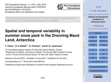 Spatial and Temporal Variability in Summ... by Vihma, T.