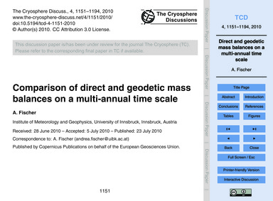 Comparison of Direct and Geodetic Mass B... by Fischer, A.