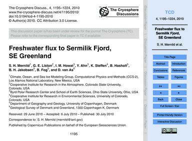 Freshwater Flux to Sermilik Fjord, SE Gr... by Mernild, S. H.