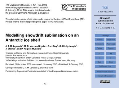 Modelling Snowdrift Sublimation on an An... by Lenaerts, J. T. M.