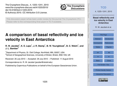 A Comparison of Basal Reflectivity and I... by Jacobel, R. W.