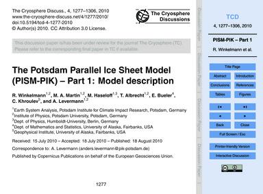 The Potsdam Parallel Ice Sheet Model (Pi... by Winkelmann, R.