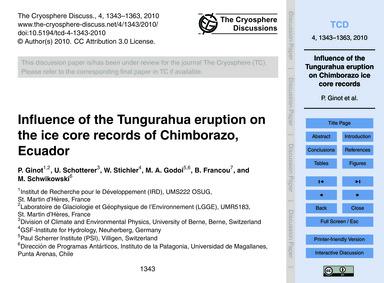 Influence of the Tungurahua Eruption on ... by Ginot, P.