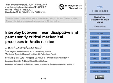 Interplay Between Linear, Dissipative an... by Chmel, A.