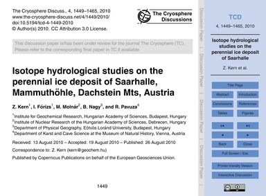 Isotope Hydrological Studies on the Pere... by Kern, Z.