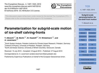 Parameterization for Subgrid-scale Motio... by Albrecht, T.