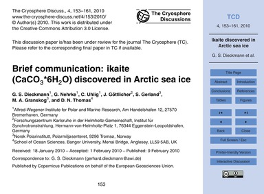 Brief Communication: Ikaite (Caco3*6H2O)... by Dieckmann, G. S.