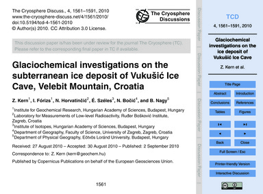 Glaciochemical Investigations on the Sub... by Kern, Z.