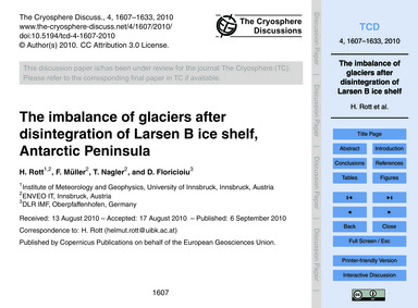 The Imbalance of Glaciers After Disinteg... by Rott, H.