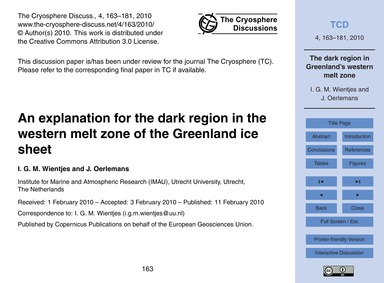 An Explanation for the Dark Region in th... by Wientjes, I. G. M.