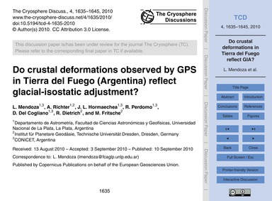 Do Crustal Deformations Observed by Gps ... by Mendoza, L.