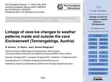 Linkage of Cave-ice Changes to Weather P... by Schöner, W.