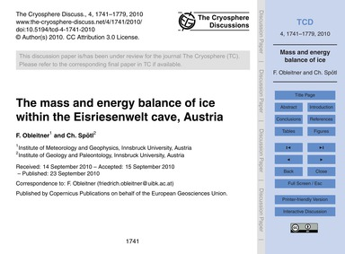 The Mass and Energy Balance of Ice Withi... by Obleitner, F.