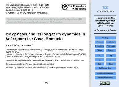 Ice Genesis and Its Long-term Dynamics i... by Perşoiu, A.