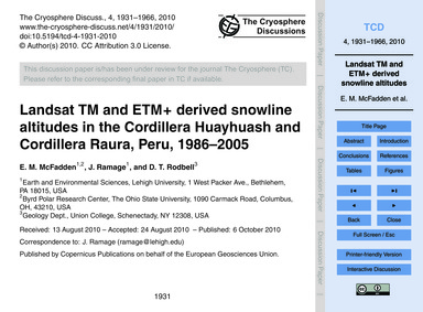 Landsat Tm and Etm+ Derived Snowline Alt... by McFadden, E. M.