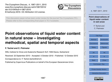 Point Observations of Liquid Water Conte... by Techel, F.