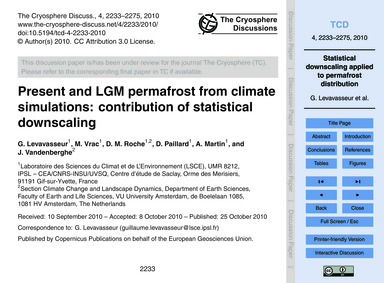 Present and Lgm Permafrost from Climate ... by Levavasseur, G.