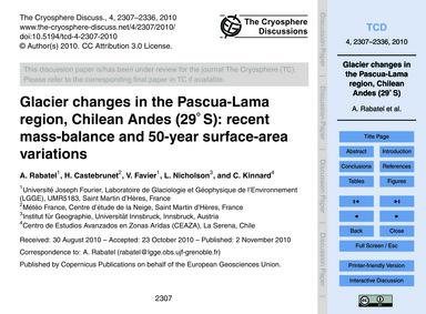 Glacier Changes in the Pascua-lama Regio... by Rabatel, A.