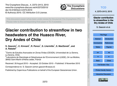 Glacier Contribution to Streamflow in Tw... by Gascoin, S.