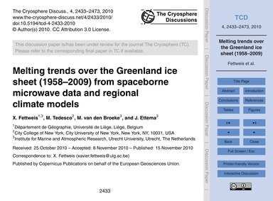 Melting Trends Over the Greenland Ice Sh... by Fettweis, X.