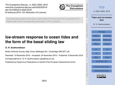 Ice-stream Response to Ocean Tides and t... by Gudmundsson, G. H.