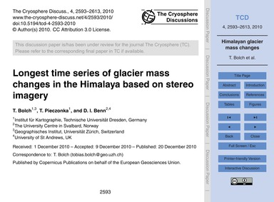 Longest Time Series of Glacier Mass Chan... by Bolch, T.
