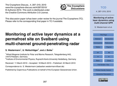 Monitoring of Active Layer Dynamics at a... by Westermann, S.