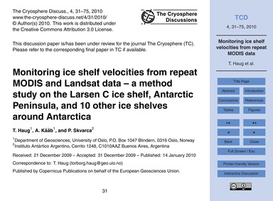 Monitoring Ice Shelf Velocities from Rep... by Haug, T.