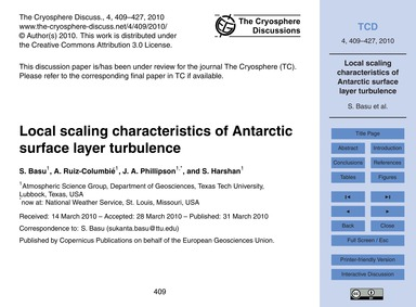 Local Scaling Characteristics of Antarct... by Basu, S.