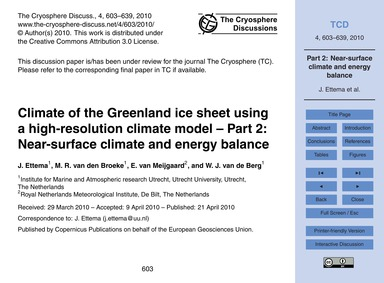 Climate of the Greenland Ice Sheet Using... by Ettema, J.