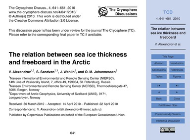The Relation Between Sea Ice Thickness a... by Alexandrov, V.