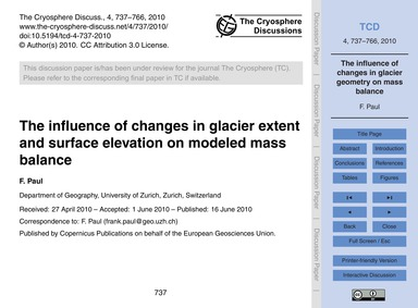 The Influence of Changes in Glacier Exte... by Paul, F.