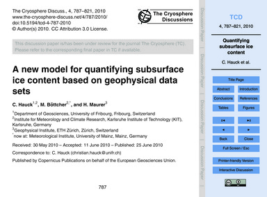 A New Model for Quantifying Subsurface I... by Hauck, C.
