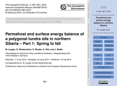 Permafrost and Surface Energy Balance of... by Langer, M.