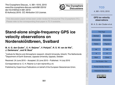 Stand-alone Single-frequency Gps Ice Vel... by Den Ouden, M. A. G.