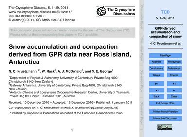 Snow Accumulation and Compaction Derived... by Kruetzmann, N. C.