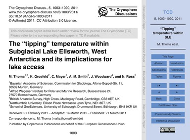 The Tipping Temperature Within Subglacia... by Thoma, M.