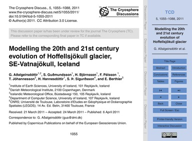 Modelling the 20Th and 21St Century Evol... by Aðalgeirsdóttir, G.
