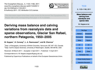 Deriving Mass Balance and Calving Variat... by Koppes, M.