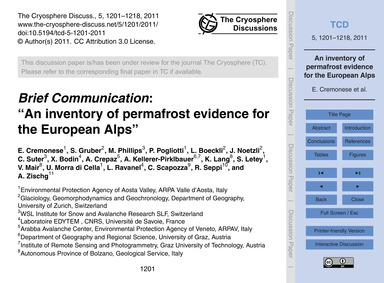 Brief Communication: an Inventory of Per... by Cremonese, E.