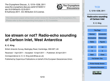 Ice Stream or Not? Radio-echo Sounding o... by King, E. C.