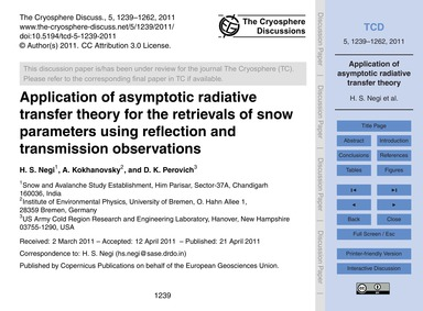 Application of Asymptotic Radiative Tran... by Negi, H. S.