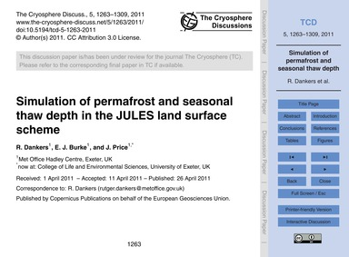 Simulation of Permafrost and Seasonal Th... by Dankers, R.