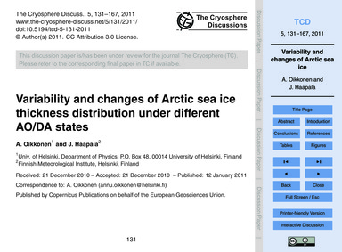 Variability and Changes of Arctic Sea Ic... by Oikkonen, A.