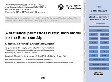 A Statistical Permafrost Distribution Mo... by Boeckli, L.