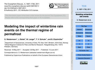 Modeling the Impact of Wintertime Rain E... by Westermann, S.