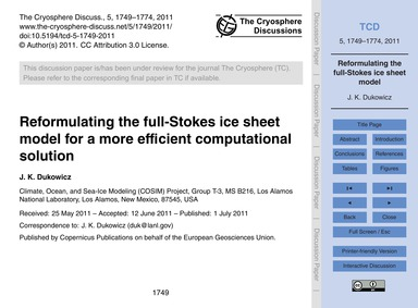 Reformulating the Full-stokes Ice Sheet ... by Dukowicz, J. K.
